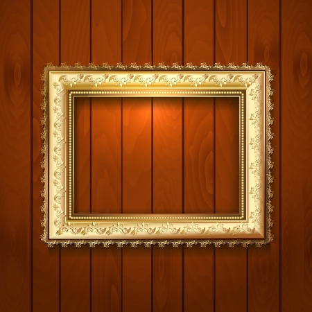 baroque picture frame: Vintage gold frame on a wooden texture