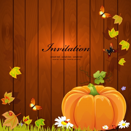 Autumn still life with pumpkin for your design Illustration