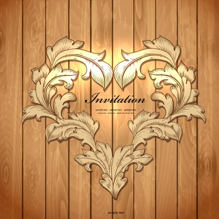 greeting card backgrounds: Frame of leaf on wood texture for your design Illustration