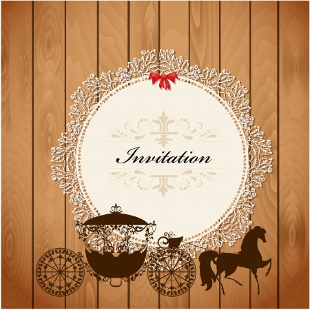 carriage on a wooden texture for your design Vector