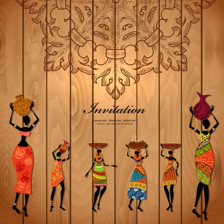 africa girl on wood texture for your design Stock Vector - 17680128