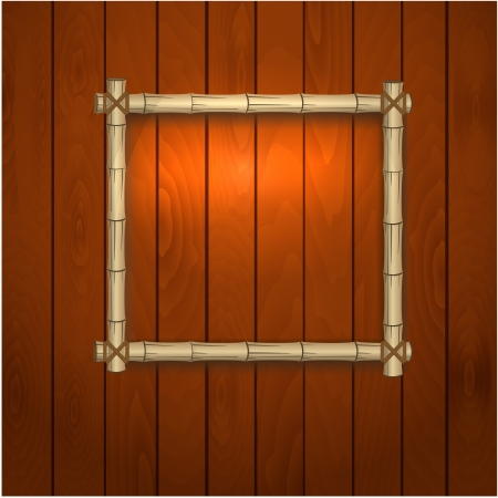 bamboo frame on a wooden wall Vector