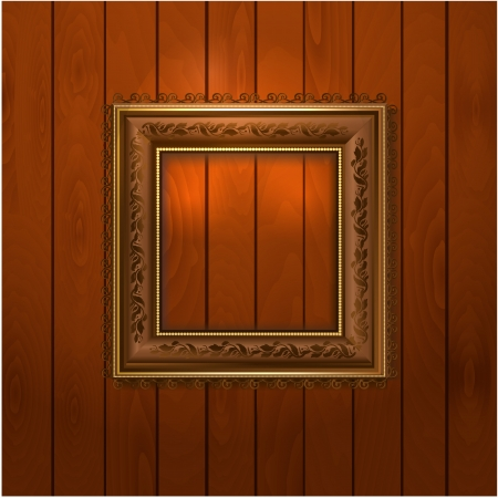 Vintage frame on wooden texture Vector