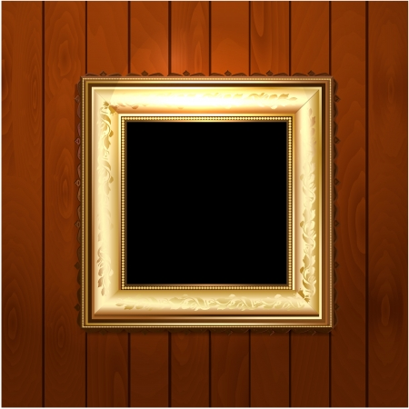 Golden vintage frame on wooden texture Stock Vector - 17680130