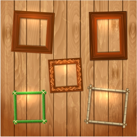 Set frames on wooden texture for your design Stock Vector - 17680122