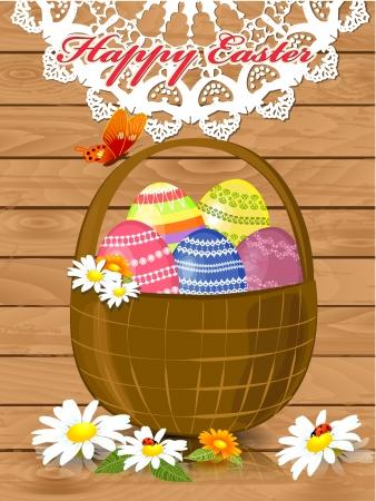 gift basket: greeting card for Easter  Illustration