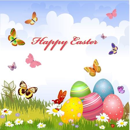 egg plant: greeting card for Easter  Illustration
