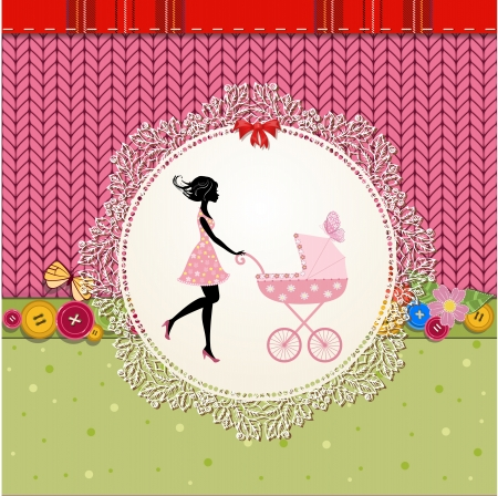 perambulator: Scrapbooking with a baby carriage and a young mother Illustration
