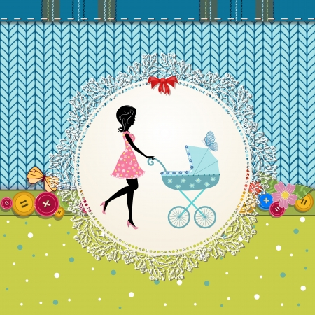 Scrapbooking with a baby carriage and a young mother Vector
