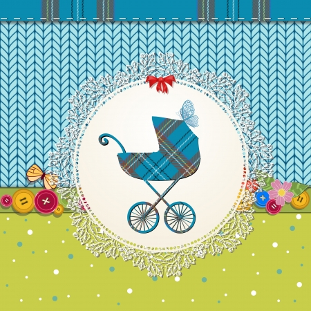 Scrapbooking with pram Vector