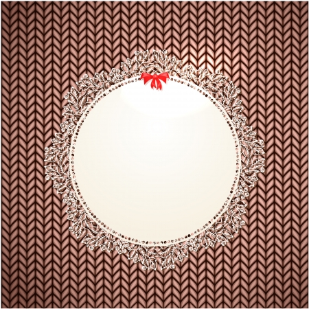 Knitted lace frame on canvas Vector