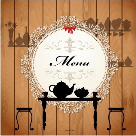 table decoration: Menu card design for a cute cafe