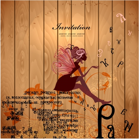 fairy silhouette: Flower Fairy on a wood texture for your design