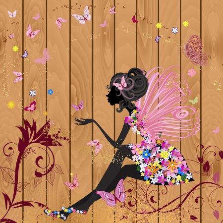 femme papillon: F�e fleur sur une texture de bois pour la conception de votre Illustration