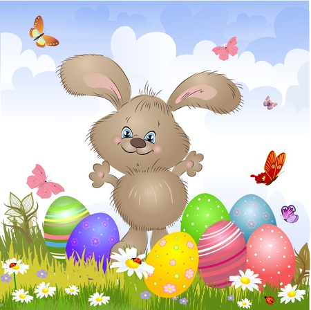 Cartoon happy rabbit for Easter Cards Illustration