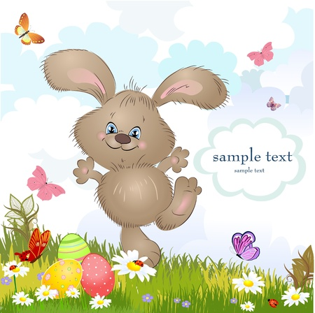 Cartoon happy rabbit for Easter Cards Vector