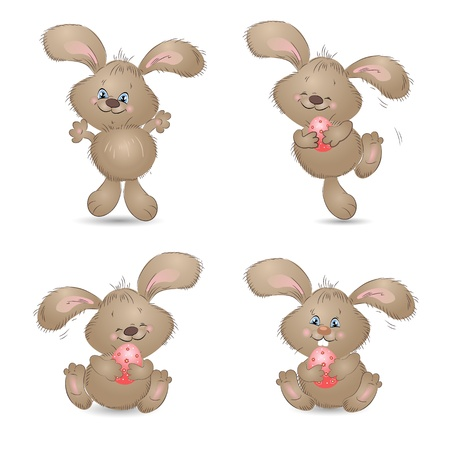 Cartoon happy rabbit Vector