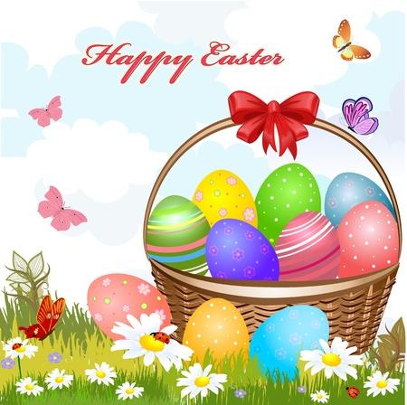 egg plant: Cesta de Pascua con huevos