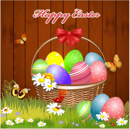 easter sign: Easter basket with eggs