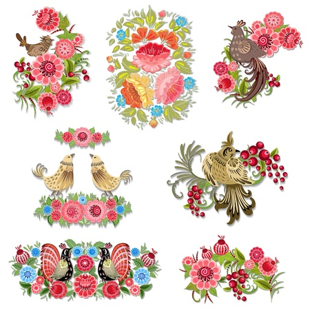 accent abstract: Set of decorative birds with flowers for your design