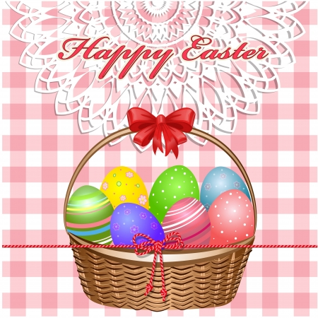 Easter Basket With Eggs On The Tablecloth Vector