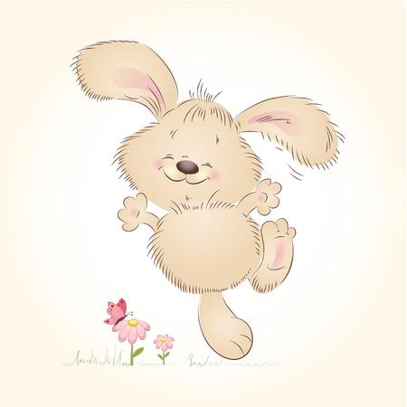 wild rabbit: Cartoon happy rabbit