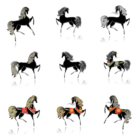 collection of beautiful decorative horses for your design Vector