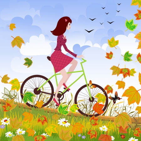 Beautiful girl on the bike Vector