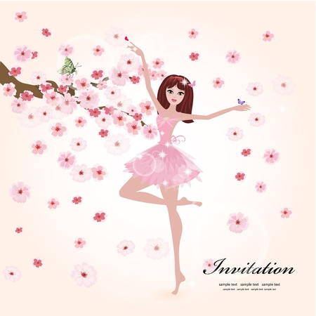 ballet: Beautiful ballerina in the flowers