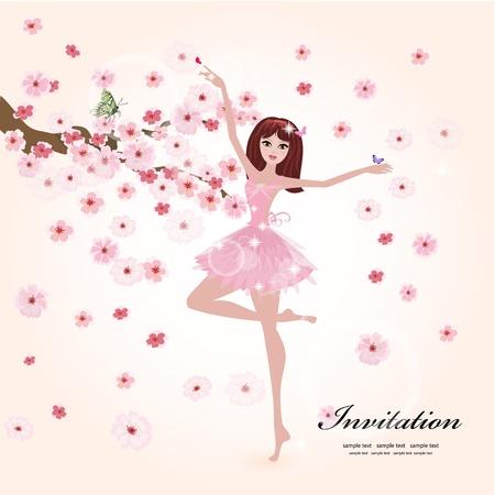 ballet clásico: Hermosa bailarina en las flores Vectores