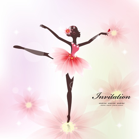 fairy silhouette: Pretty dancer for your design Illustration