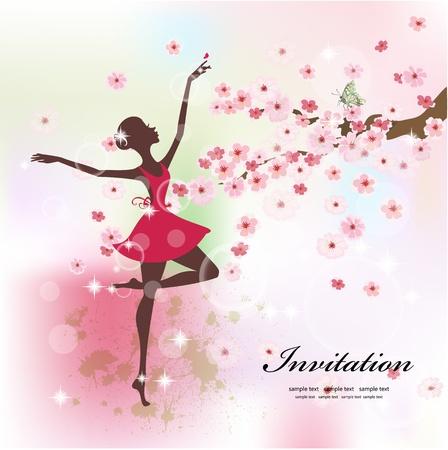 ballerina silhouette: Beautiful ballerina in the flowers