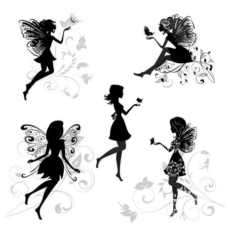 hadas caricatura: Juego de hadas con mariposas