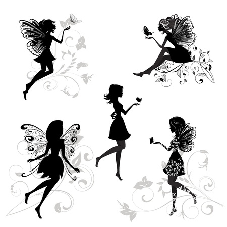 fairy silhouette: Set of fairies with butterflies Illustration