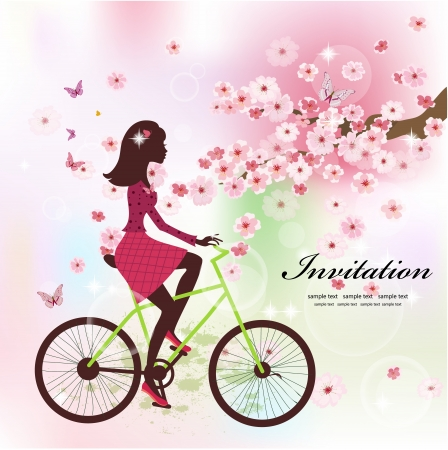 outdoor glamour: Beautiful girl on the bike