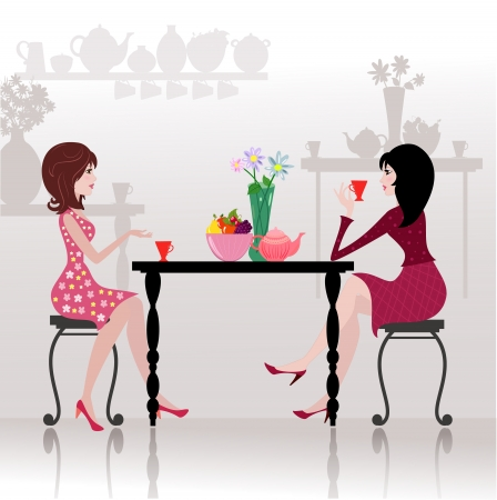 dinner party: Girls in the cafe Illustration