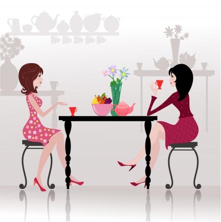 mujer tomando cafe: Las ni�as en el caf� Vectores