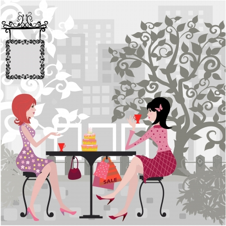 two women talking: Girls in the cafe Illustration