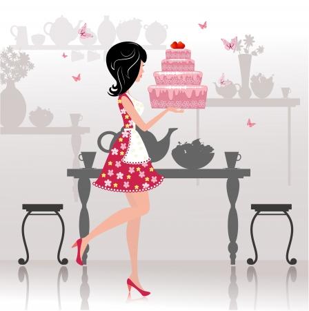 dibujos animados de mujeres: chica con un pastel de cumplea�os para su dise�o Vectores