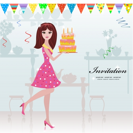 girl with a birthday cake for your design Vector