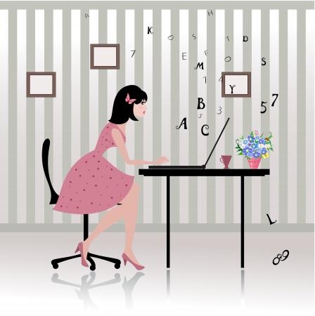 ラップトップを持つ女性実業家  イラスト・ベクター素材