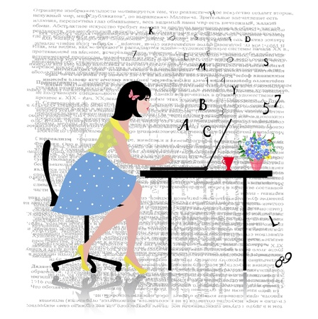 art work: Business woman with laptop