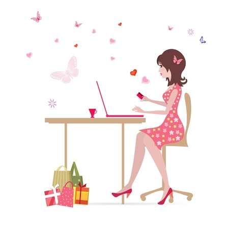 ladies shopping: Girl with laptop makes shopping