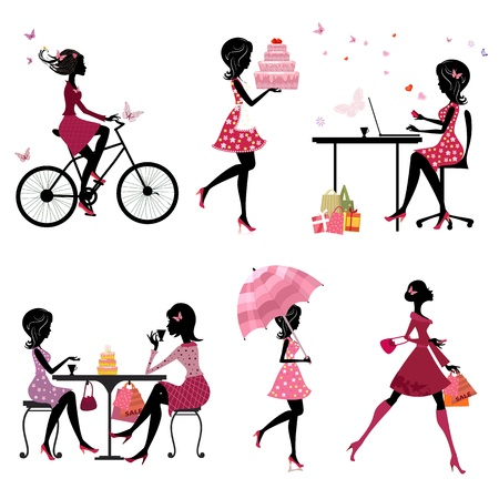 urban style: Set of silhouette of beautiful girls on vacation