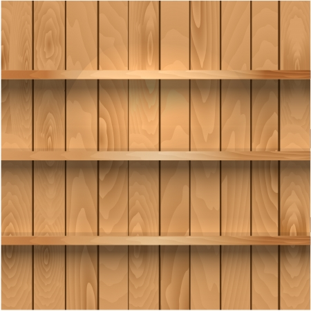 Realistic wooden shelves Vector