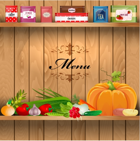 wooden shelves: Delicious and healthy food on wooden shelves realistic Illustration