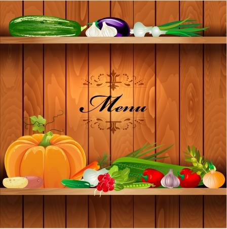 green pea: Fresh vegetables on wooden shelves for your design