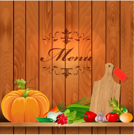 Fresh vegetables on wooden shelves for your design Vector