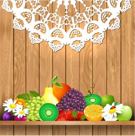 vegetable gardening: Juicy fruit on wooden shelves for your design Illustration