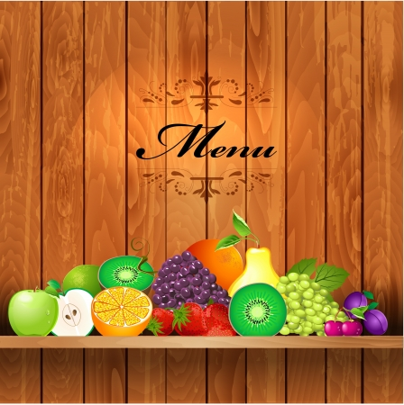 Juicy fruit on wooden shelves for your design Vector